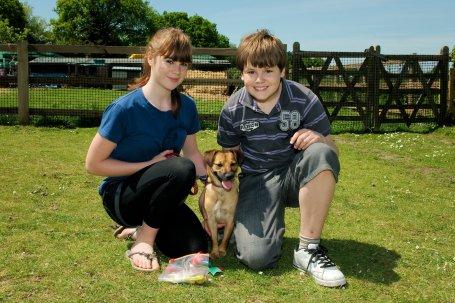 Dog with girl and boy