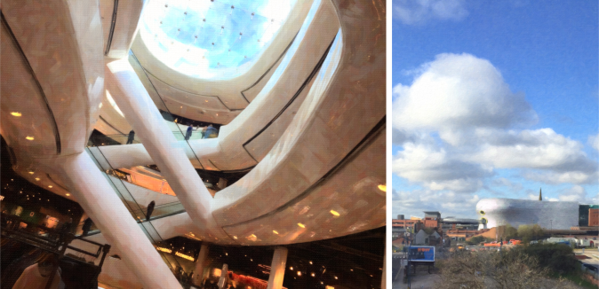 Inside view and out of The Bull Ring Shopping centre